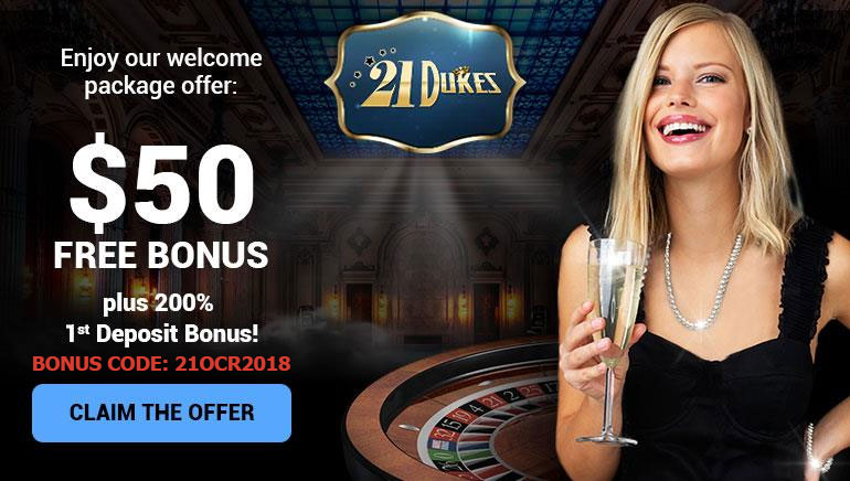 Boas-Vindas de Realeza: $ 50 em Bônus Grátis no 21Dukes Casino