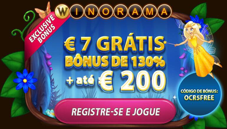Ganhe € 7 Grátis + 130% até € 200 no Winorama Casino