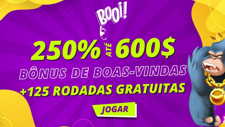 250% ate 600$ bonus de boas-vindas + 125 rodadas gratuitas