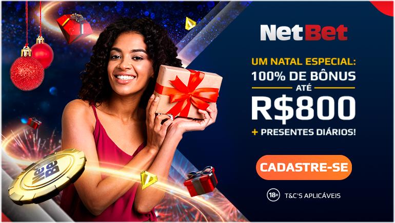 O NetBet Brasil Fica Alegre Nesta Época Festiva com Bônus de Boas-Vindas de 100% até R$ 800