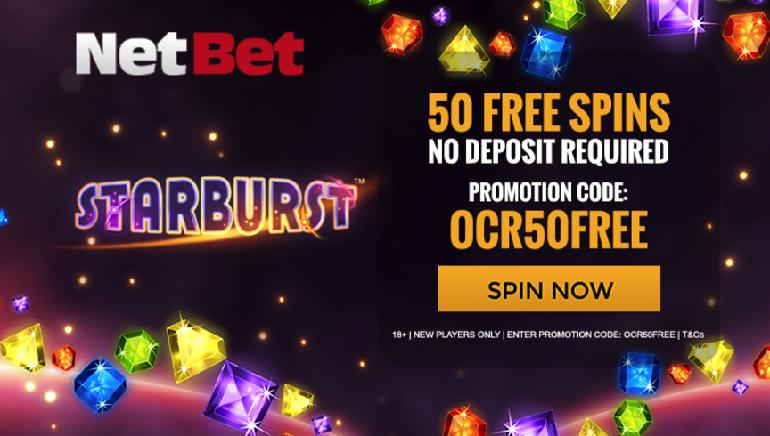 Pegue 50 Giradas Grátis Sem Depósito no Starburst no NetBet Casino